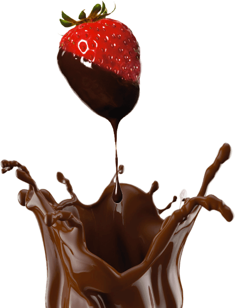 Photo of a strawberry covered with chocolate